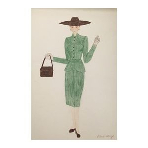 Original Drawing of 1947-1960s Fashion circa 1973